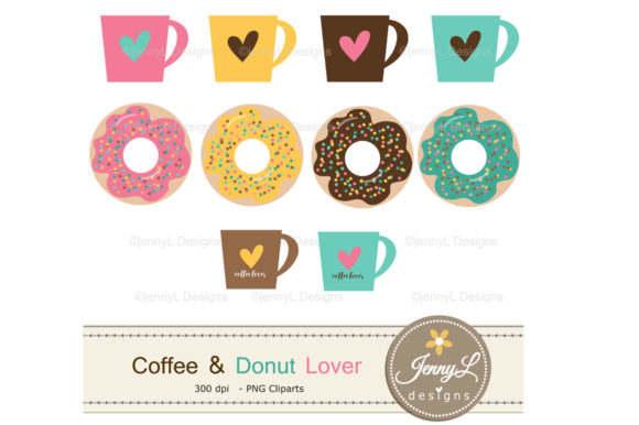 Download Free Coffee Digital Papers And Donut Clipart Graphic By for Cricut Explore, Silhouette and other cutting machines.