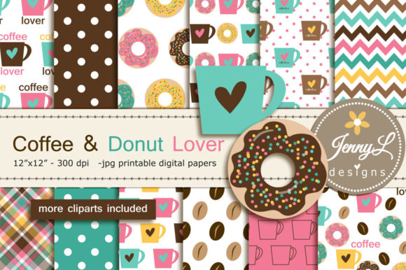 Coffee Digital Papers and Donut Clipart Graphic Backgrounds By jennyL_designs
