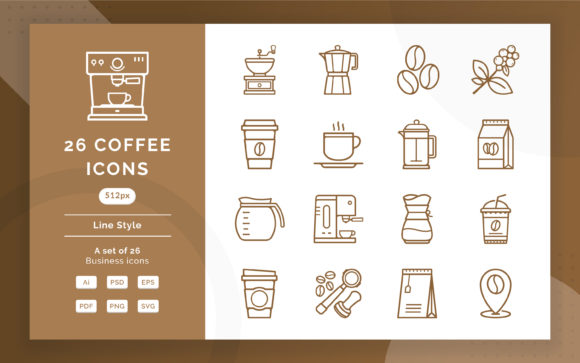 Coffee Icons Graphic Icons By Fand - Image 1