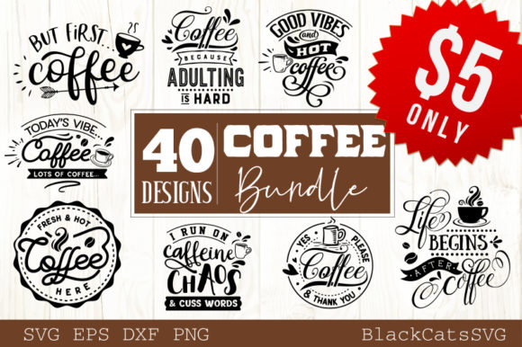 Download Free Coffee Bundle 40 Designs Graphic By Blackcatsmedia Creative for Cricut Explore, Silhouette and other cutting machines.