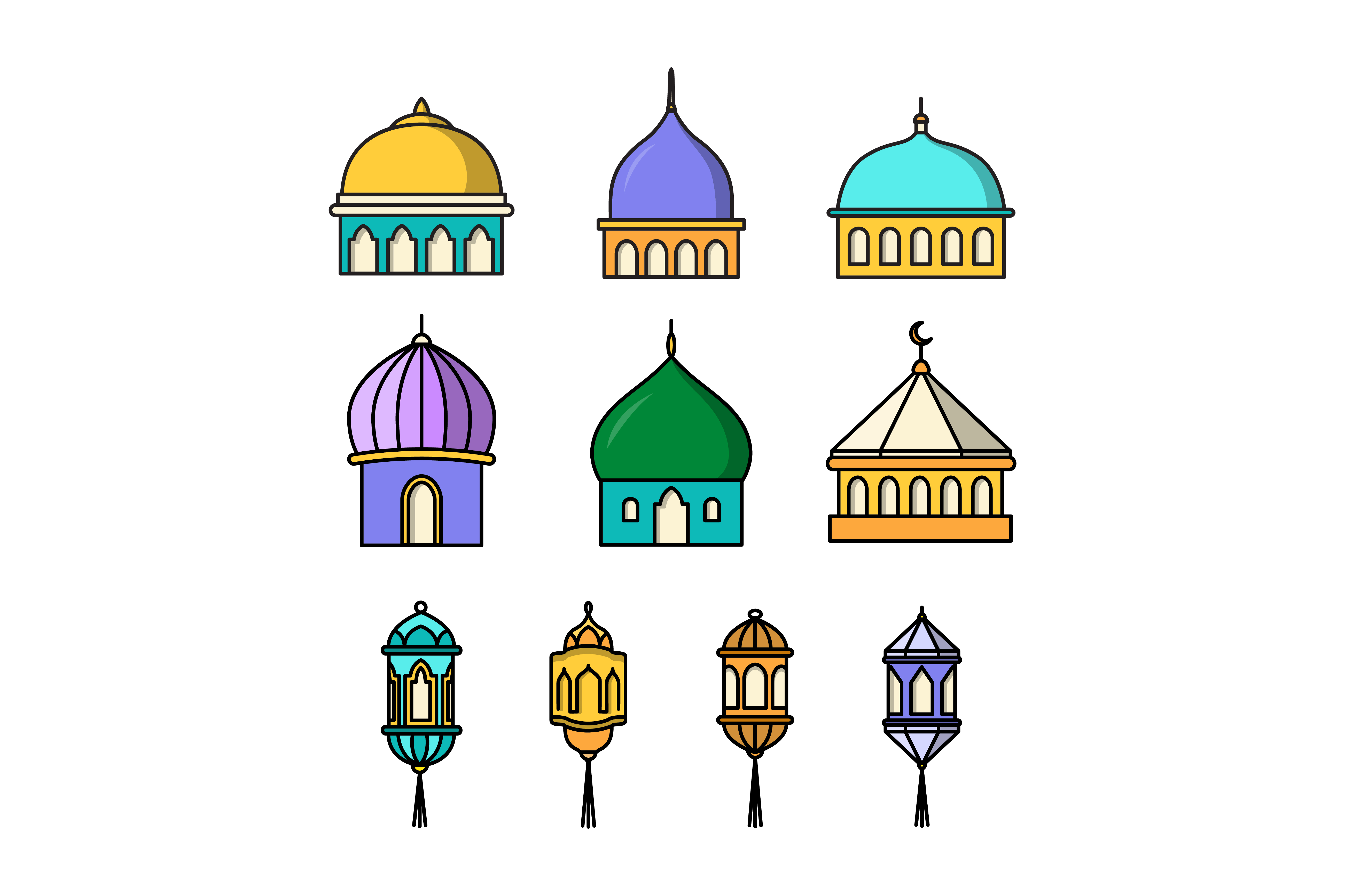 Download Free Collection Of Mosque And Lanterns Graphic By Sabavector for Cricut Explore, Silhouette and other cutting machines.