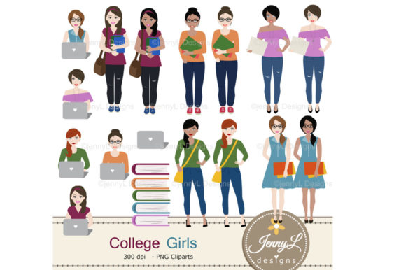 College Digital Papers and Students Graphic By jennyL_designs Image 3