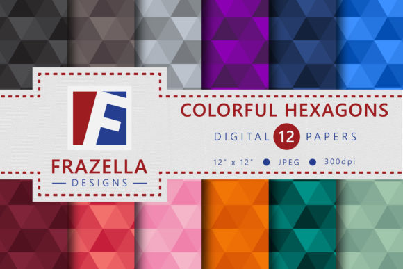 Download Free Colorful Hexagons Pattern Digital Papers Graphic By Frazella for Cricut Explore, Silhouette and other cutting machines.