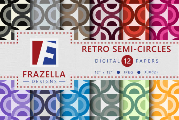 Colorful Retro Semi Circles Pattern Digital Paper Collection