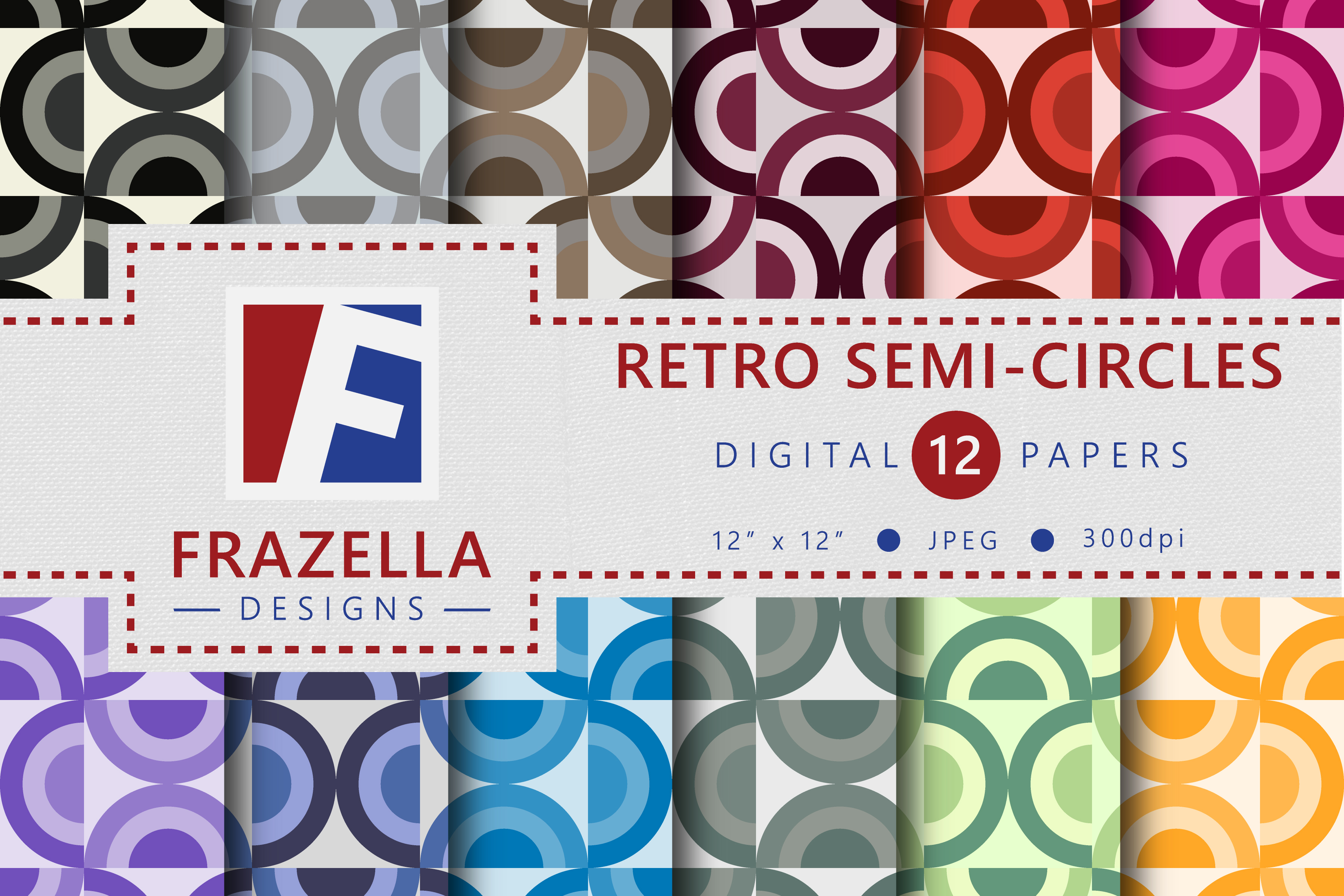 Download Free Colorful Retro Semi Circles Pattern Digital Paper Collection for Cricut Explore, Silhouette and other cutting machines.
