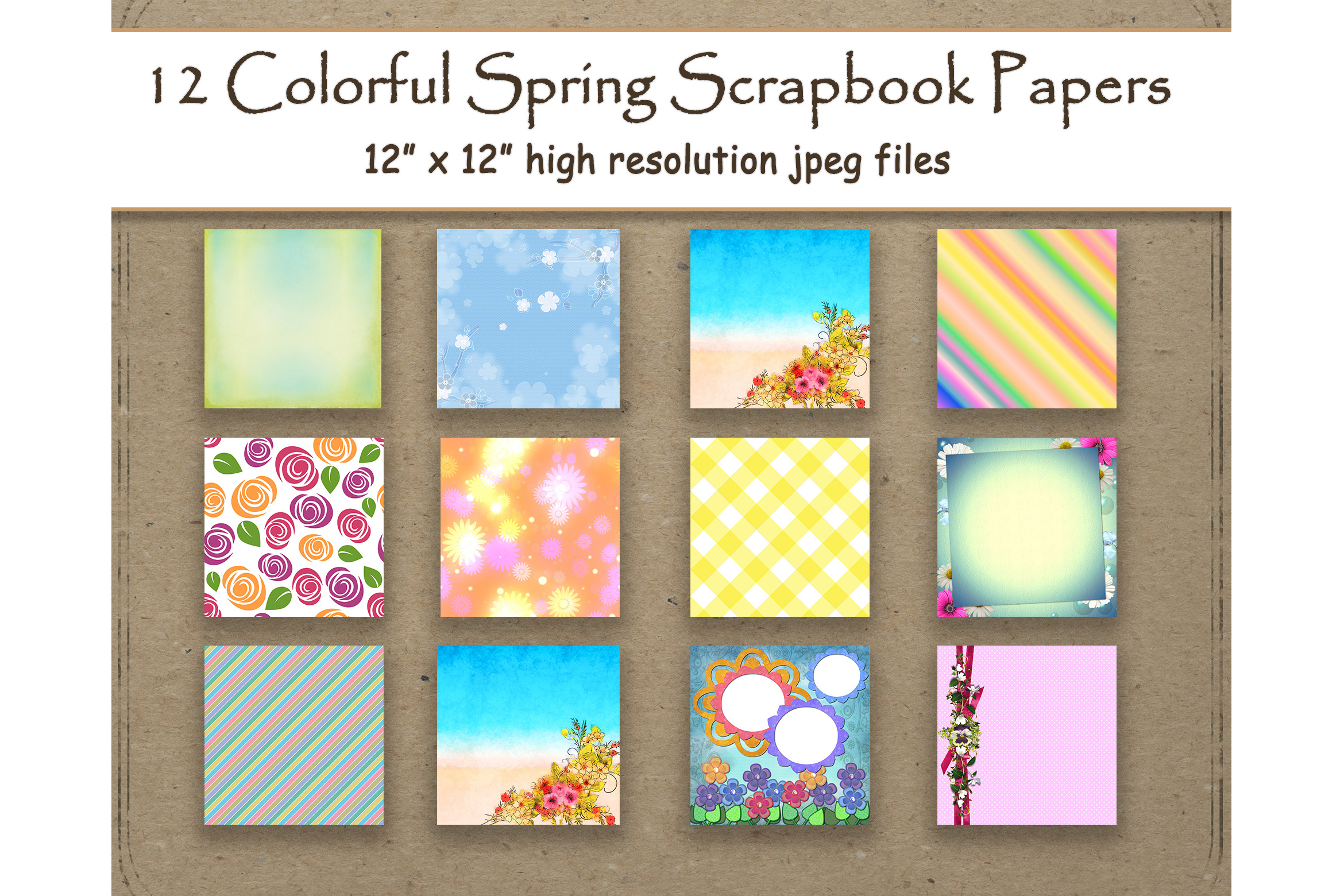 Download Free Colorful Spring Digital Papers Scrapbook Graphic By for Cricut Explore, Silhouette and other cutting machines.