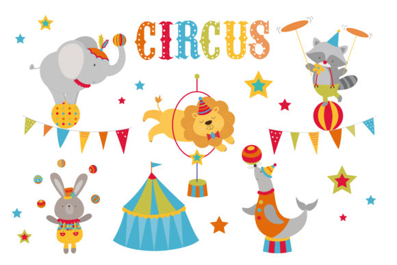 Print on Demand: Colourful Circus Graphic Illustrations By poppymoondesign
