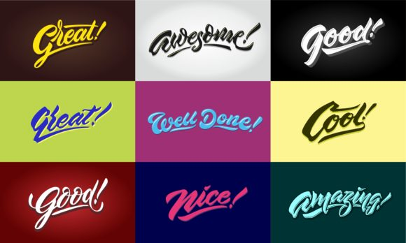 Compliment Words Hand Lettering Bundle Graphic By Sons Of Baidlowi