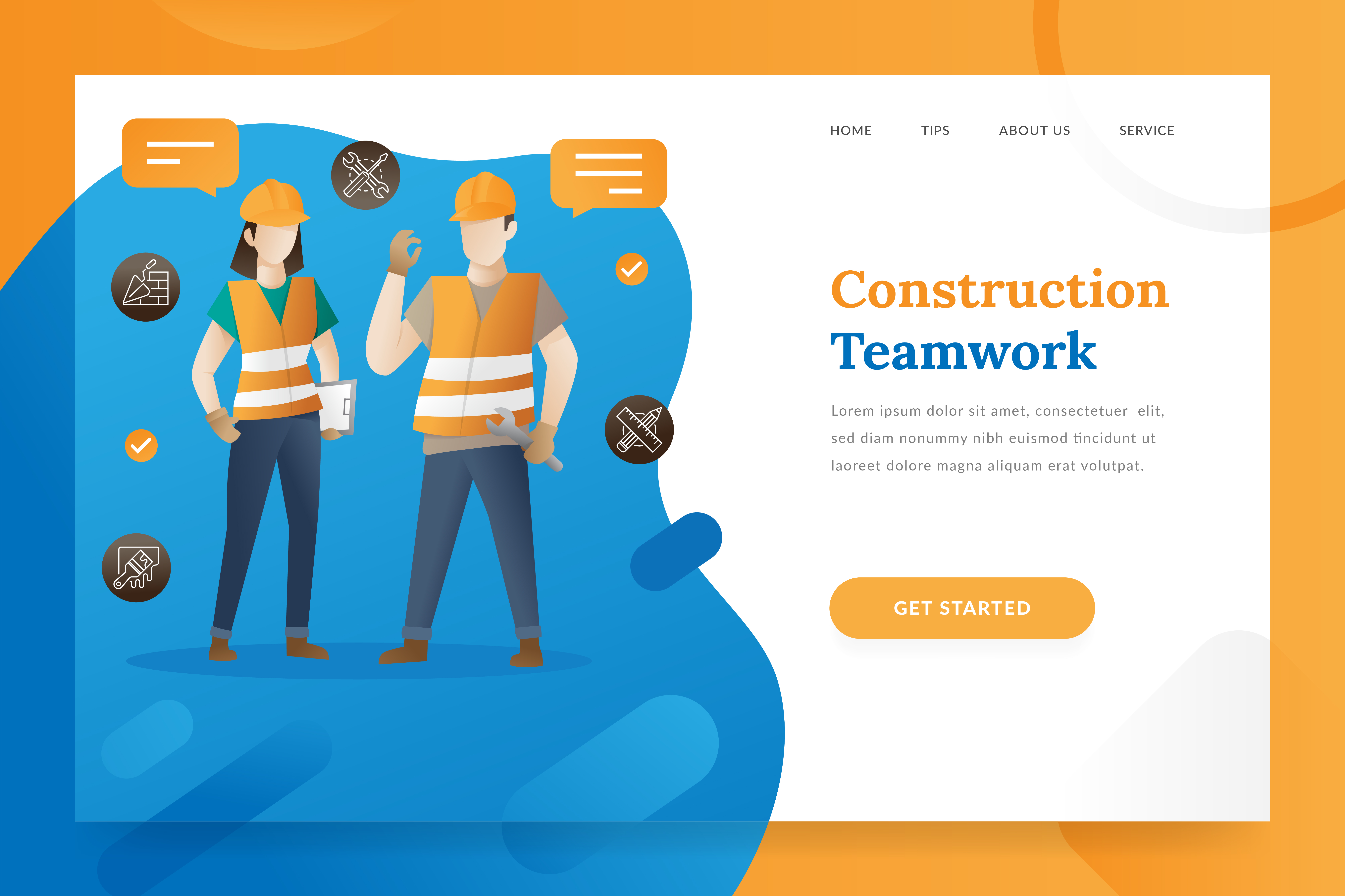 Download Free Construction Teamwork Landing Page Illus Graphic By for Cricut Explore, Silhouette and other cutting machines.
