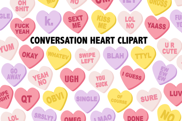 Print on Demand: Conversation Candy Heart Clipart Graphic Illustrations By Mine Eyes Design