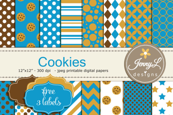 Cookie Digital Papers Graphic Backgrounds By jennyL_designs