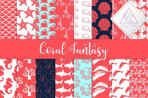 Print on Demand: Coral Fantasy Digital Paper Graphic Patterns By fantasycliparts