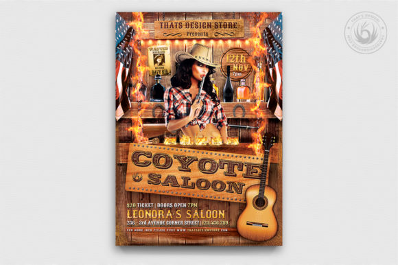 Coyote Bar Flyer Template Graphic By ThatsDesignStore