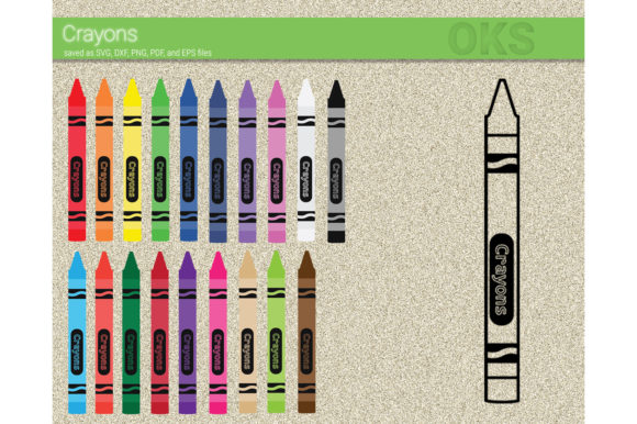 Print on Demand: Crayons Clipart Vector Graphic Crafts By CrafterOks