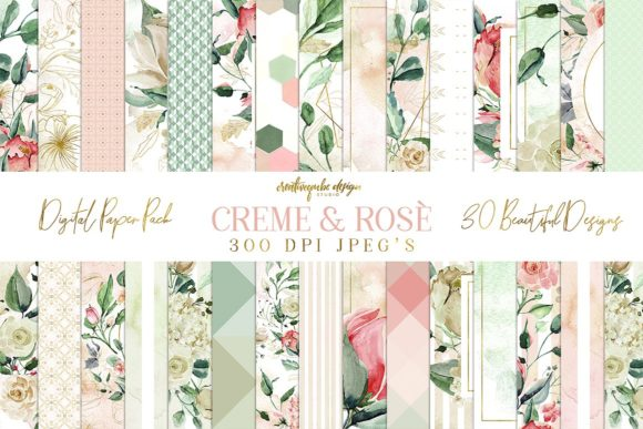Creme & Rose Digital Papers Graphic By Creativeqube Design