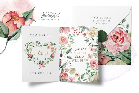 Creme & Rose Watercolor Set Graphic Illustrations By Creativeqube Design - Image 2