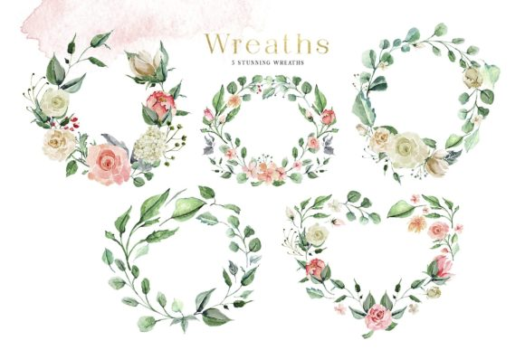 Creme & Rose Watercolor Set Graphic Illustrations By Creativeqube Design - Image 3