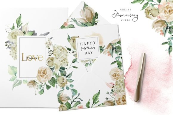 Creme & Rose Watercolor Set Graphic Illustrations By Creativeqube Design - Image 5