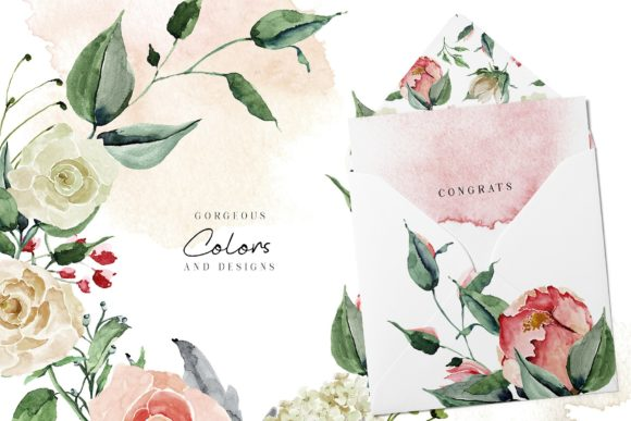 Creme & Rose Watercolor Set Graphic Illustrations By Creativeqube Design - Image 6