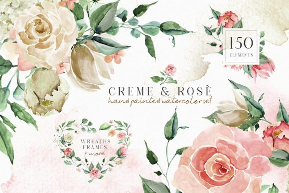 Creme & Rose Watercolor Set Graphic By Creativeqube Design