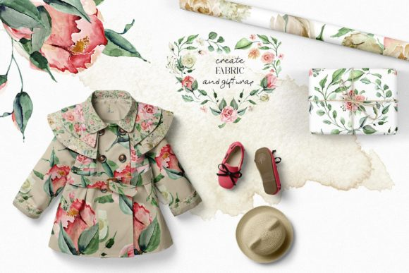 Creme & Rose Watercolor Set Graphic Illustrations By Creativeqube Design - Image 9