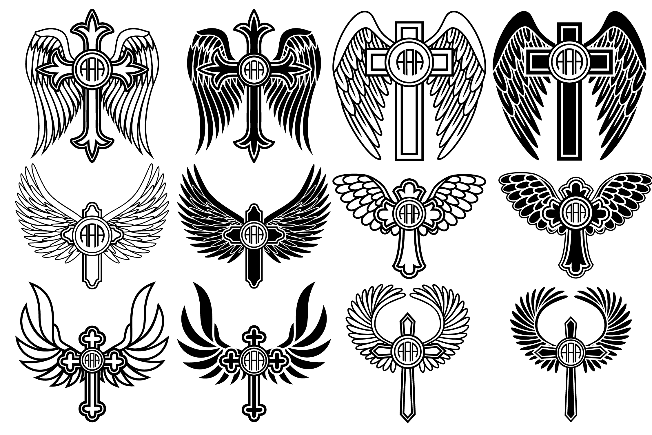 Download Free Cross With Wings Svg Cross Svg Angel Wings Graphic By Yulnniya for Cricut Explore, Silhouette and other cutting machines.