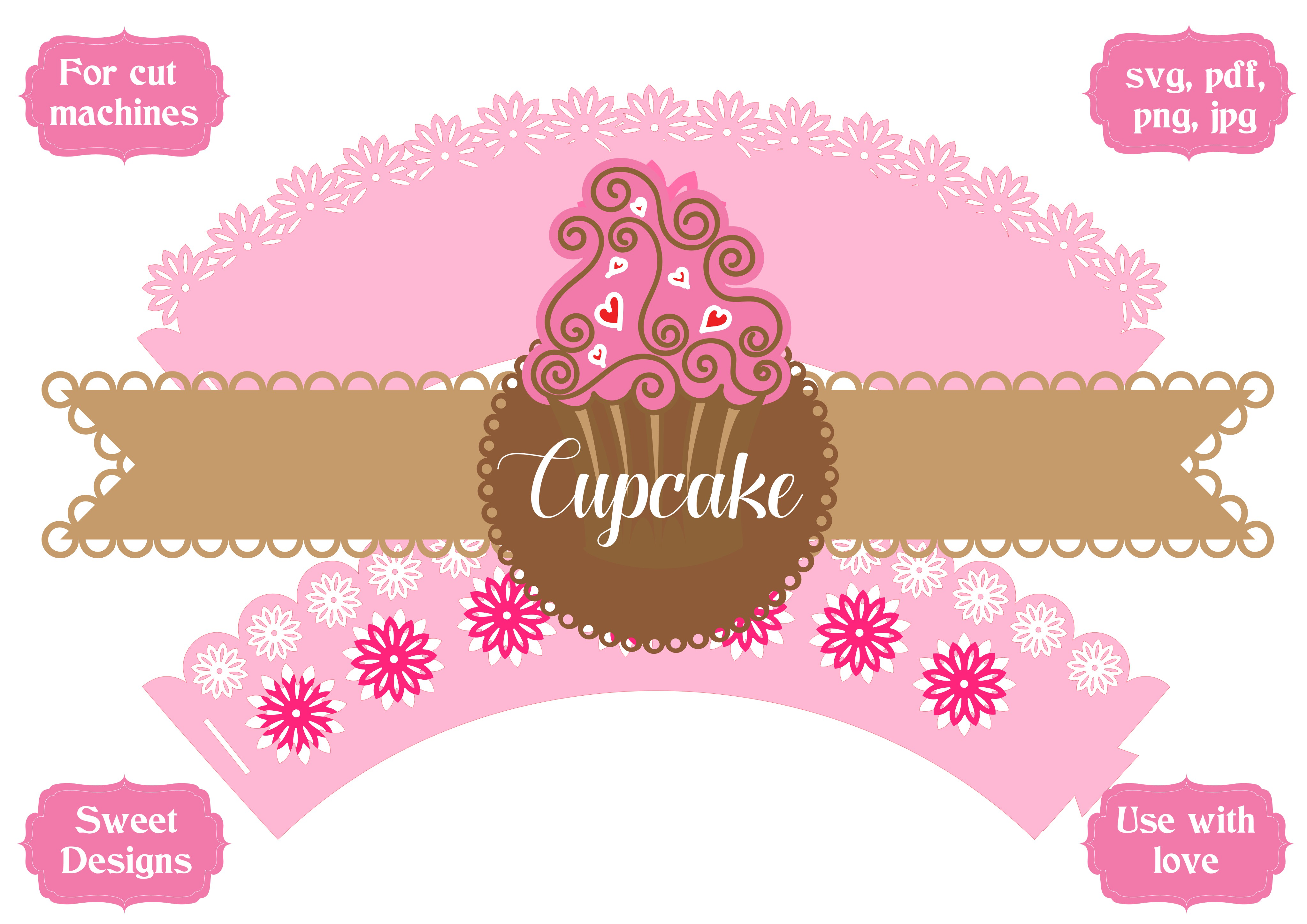 Download Free Cupcake Flower Wrapper Graphic By Jgalluccio Creative Fabrica for Cricut Explore, Silhouette and other cutting machines.