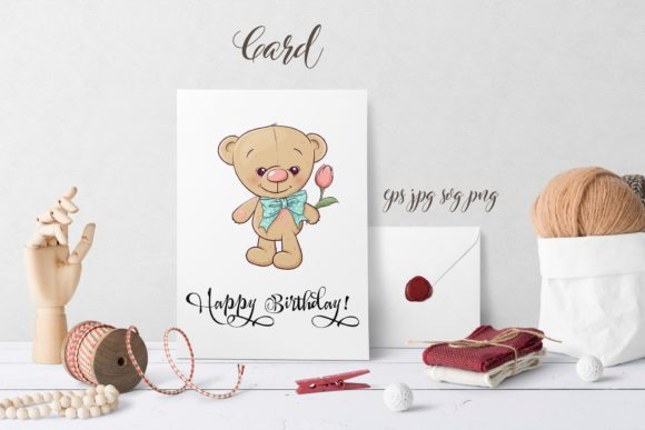 Print on Demand: Cute Bear - Vector Clip Art Graphic Illustrations By nicjulia - Image 3