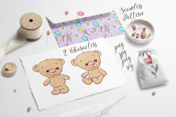 Print on Demand: Cute Bear - Vector Clip Art Graphic Illustrations By nicjulia - Image 4