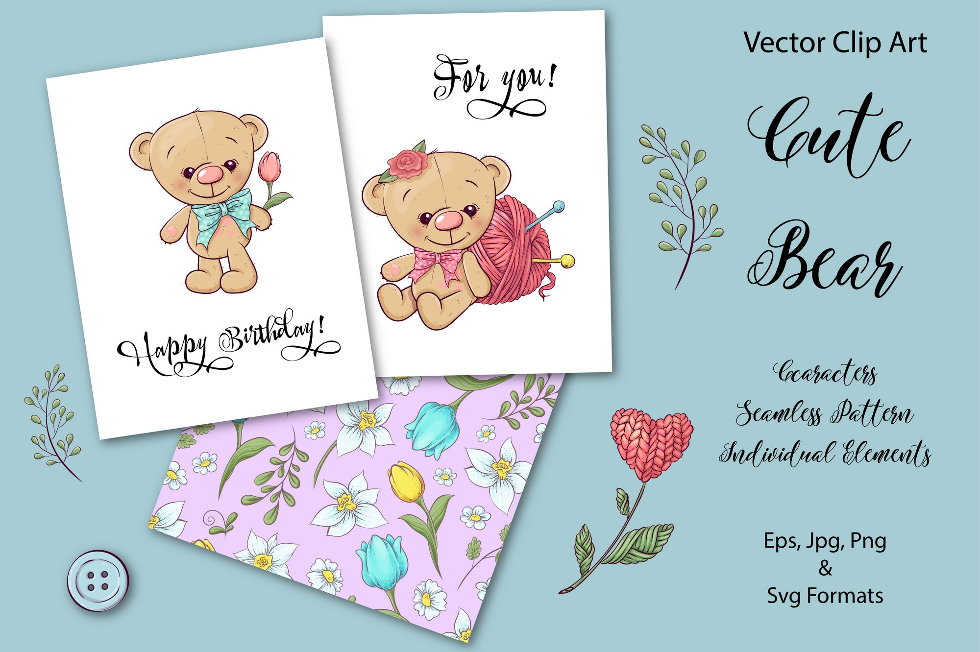 Download Free Cute Bear Vector Clip Art Graphic By Nicjulia Creative Fabrica for Cricut Explore, Silhouette and other cutting machines.