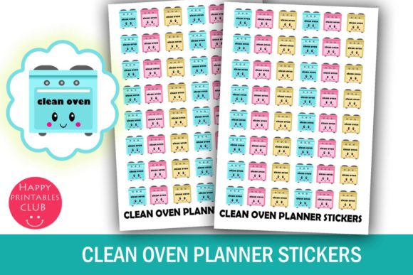 Download Free Cute Clean Oven Kitchen Planner Stickers Graphic By Happy for Cricut Explore, Silhouette and other cutting machines.