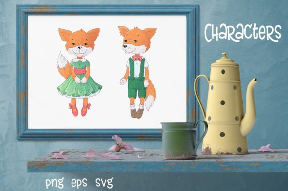 Cute Foxes and Poppies - Vector Clip Art Graphic By nicjulia Image 2