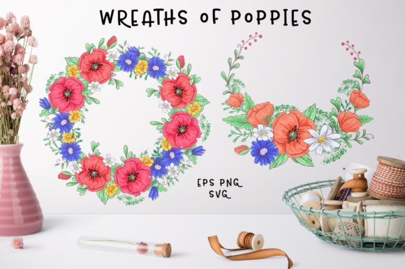 Print on Demand: Cute Foxes and Poppies - Vector Clip Art Graphic Illustrations By nicjulia - Image 3
