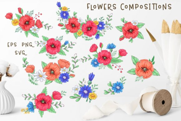Print on Demand: Cute Foxes and Poppies - Vector Clip Art Graphic Illustrations By nicjulia - Image 4
