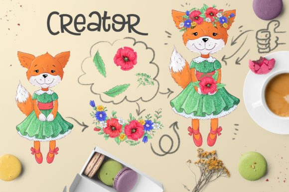 Cute Foxes and Poppies - Vector Clip Art Graphic By nicjulia Image 6