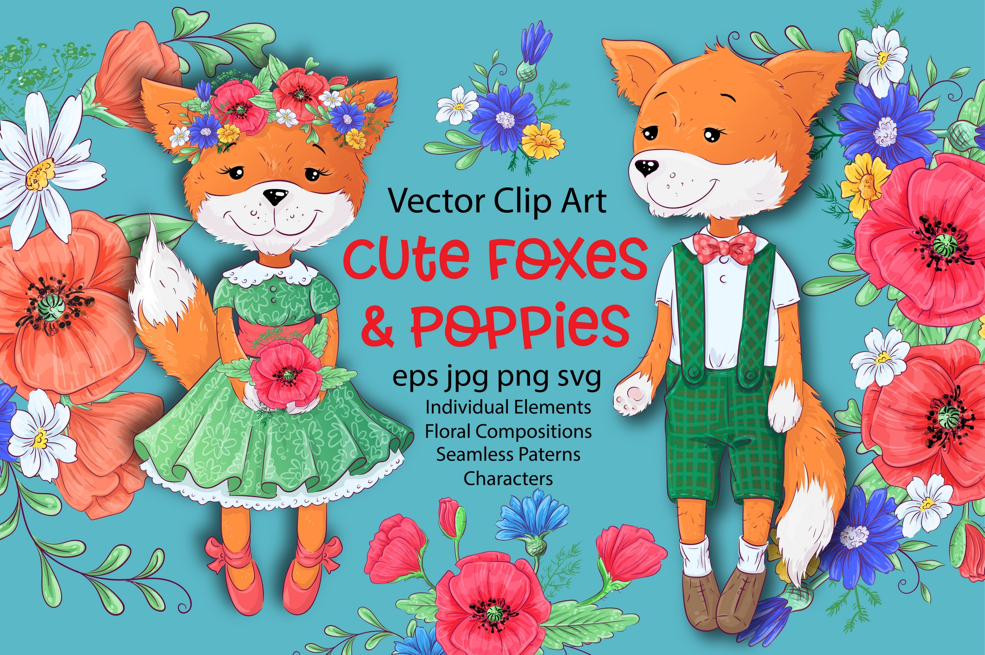 Download Free Cute Foxes And Poppies Vector Clip Art Graphic By Nicjulia for Cricut Explore, Silhouette and other cutting machines.