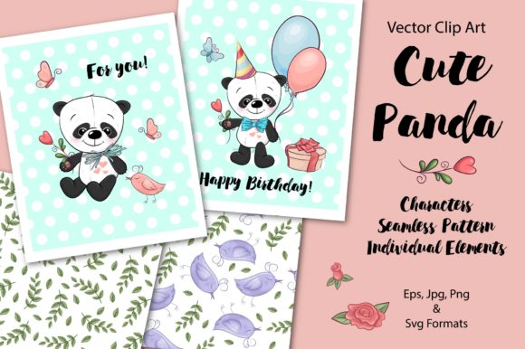 Print on Demand: Cute Panda Vector Clip Art Graphic Illustrations By nicjulia