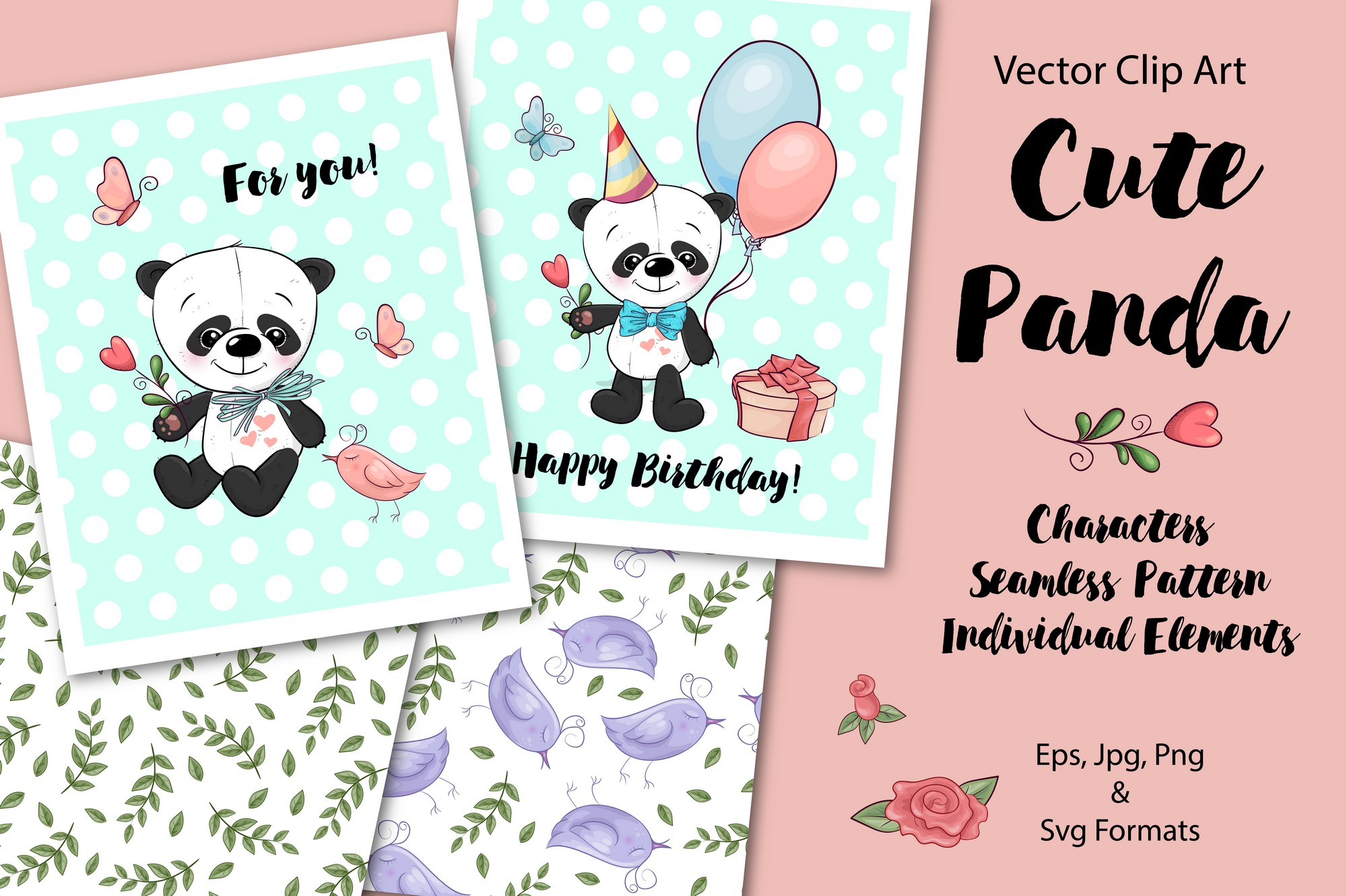 Download Free Cute Panda Vector Clip Art Graphic By Nicjulia Creative Fabrica for Cricut Explore, Silhouette and other cutting machines.