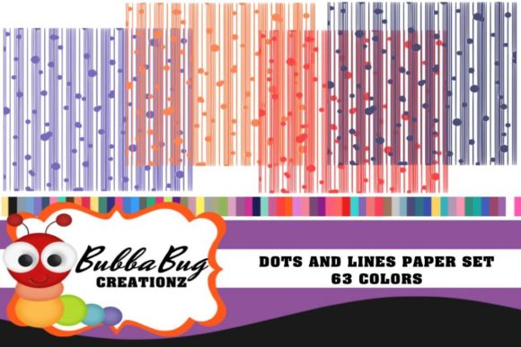DOTS and LINES PAPER SET Graphic Backgrounds By BUBBABUG