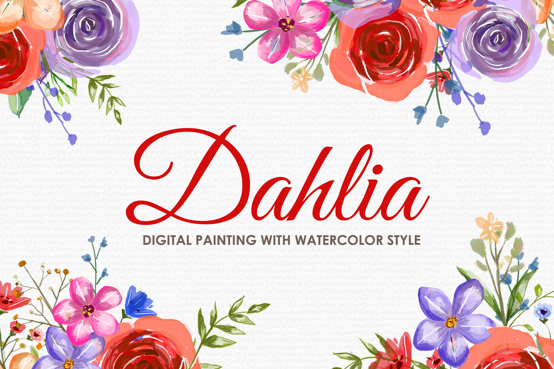 Download Free Dahlia Watercolor Floral Style Clipart Graphic By Kagunan Arts for Cricut Explore, Silhouette and other cutting machines.