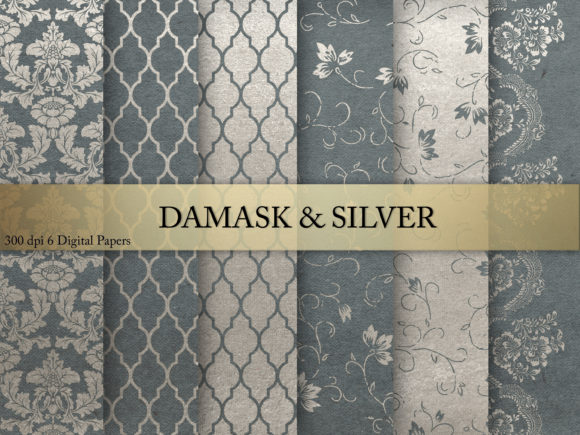 Print on Demand: Damask & Silver  Digital Paper Graphic Textures By Creative Paper