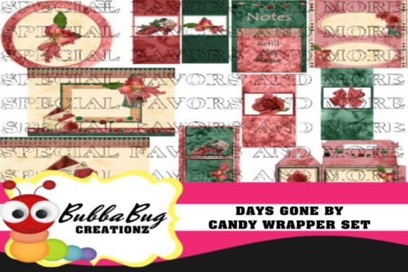 Days Gone by Candy Wrapper Set Graphic Crafts By BUBBABUG