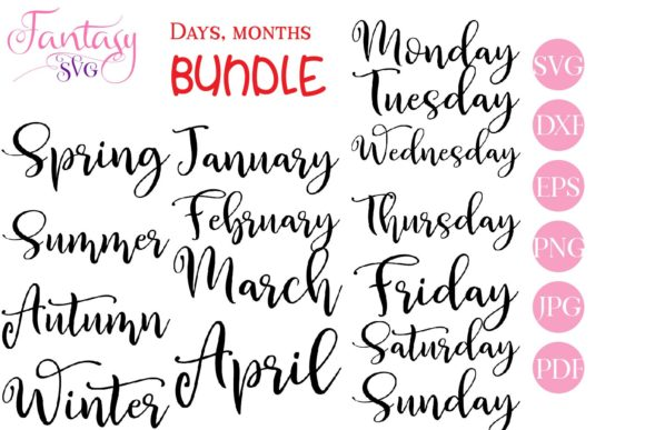 Print on Demand: Days of the Week, Months  Graphic Crafts By Fantasy SVG