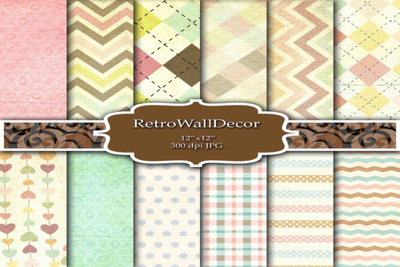 Print on Demand: Decoupage Digital Paper Graphic Backgrounds By retrowalldecor