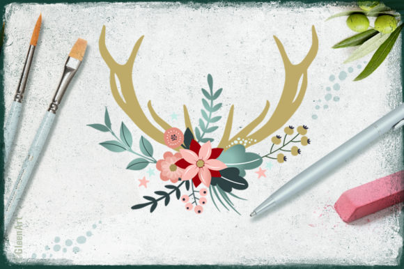 Download Free Deers Antlers Flowers Design Bundle Graphic By Gleenart for Cricut Explore, Silhouette and other cutting machines.