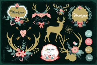 Deers, Antlers & Flowers Design Bundle Graphic By Gleenart Graphic Design