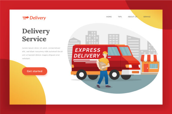 Delivery Service Landing Page Graphic Web Elements By Fand