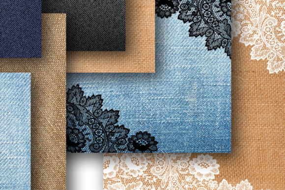 Denim and Lace Digital Paper for Scrapbooking Graphic Textures By Cute files - Image 2