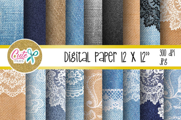 Denim and Lace Digital Paper for Scrapbooking Graphic Textures By Cute files