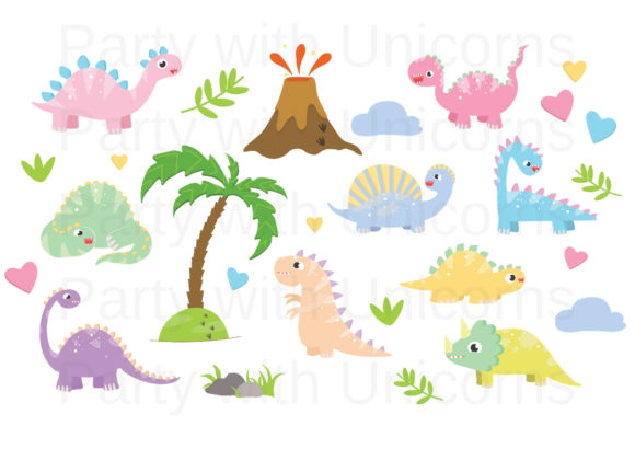 Print on Demand: Dinosaur Clip Art Graphic Illustrations By Party With Unicorns